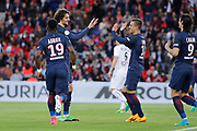 ADRIEN RABIOT (PSG) scored a goal and celebrated it with Giovani Lo Celso (PSG), Serge Aurier (psg)during the French Championship Ligue 1 football match between Paris Saint-Germain and SM Caen on May 20, 2017 at Parc des Princes stadium in Paris, France - Photo Stephane Allaman / ProSportsImages / DPPI