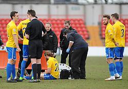 Bristol Rovers' Stuart Sinclair has to leave the game on a stretcher - Photo mandatory by-line: Neil Brookman/JMP - Mobile: 07966 386802 - 28/02/2015 - SPORT - Football - Gateshead - Gateshead International Stadium - Gateshead v Bristol Rovers - Vanarama Football Conference