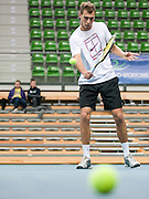 Jerzy Janowicz of Poland while his training session three days before the BNP Paribas Davis Cup 2013 between Poland and South Africa at MOSiR Hall in Zielona Gora on April 02, 2013...Poland, Zielona Gora, April 02, 2013..Picture also available in RAW (NEF) or TIFF format on special request...For editorial use only. Any commercial or promotional use requires permission...Photo by © Adam Nurkiewicz / Mediasport