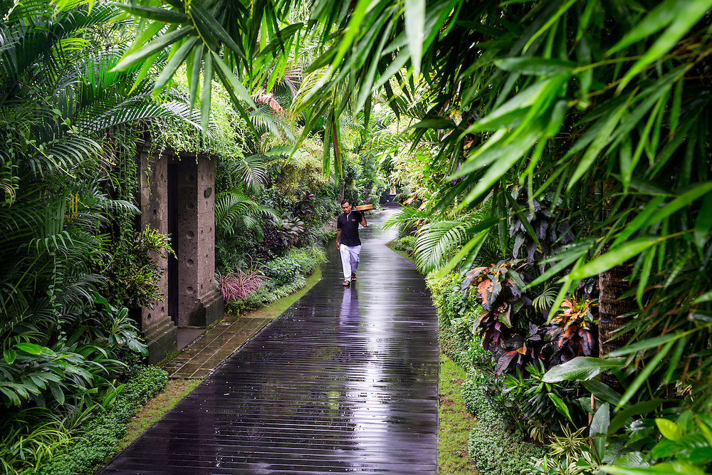Pathway of Ametis Villa in Canggu. Bali, Indonesia.
