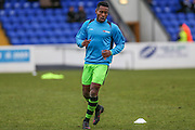 Forest Green Rovers Dale Bennett(6) warming up during the FA Trophy 2nd round match between Chester FC and Forest Green Rovers at the Deva Stadium, Chester, United Kingdom on 14 January 2017. Photo by Shane Healey.