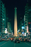 Obelisco or Obelisk in Plaza de la Republica, view from Calle Corrientes leading to Obelisk, Vertical, Capital Federal Buenos Aires Argentina Image by Andres Morya