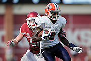 FAYETTEVILLE, AR - SEPTEMBER 5:  Autrey Golden #8 of the UTEP Miners is tackled by Brooks Ellis #51 of the Arkansas Razorbacks at Razorback Stadium on September 5, 2015 in Fayetteville, Arkansas.  The Razorbacks defeated the Miners 48-13.  (Photo by Wesley Hitt/Getty Images) *** Local Caption *** Autrey Golden; Brooks Ellis