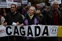 November 10, 2018 - Madrid, Spain - Protesters hold a banner ( a big mistake) during a demonstration  in front of the Spanish Supreme court in Madrid on 10 November, 2018... Groups, unions and political parties , protest against the Supreme Court judges and the banking for the tax of the mortgages.The Spanish Supreme Court on November 6, 2018 revoked a sentence, passed almost two weeks ago, and decided that clients, and not the banks, will have to pay a tax on their mortgage loan. (Credit Image: © Juan Carlos Lucas/NurPhoto via ZUMA Press)