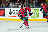 KELOWNA, CANADA - MARCH 16: Ethan Ernst #19 of the Kelowna Rockets skates with the puck against the Vancouver Giants  on March 16, 2019 at Prospera Place in Kelowna, British Columbia, Canada.  (Photo by Marissa Baecker/Shoot the Breeze)