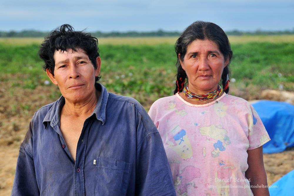 Chimani couple on a river near San Lorenzo de Moxos, Beni, Bolivia
