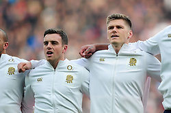 George Ford and Owen Farrell of England sing the national anthem prior to the match - Mandatory byline: Patrick Khachfe/JMP - 07966 386802 - 26/11/2016 - RUGBY UNION - Twickenham Stadium - London, England - England v Argentina - Old Mutual Wealth Series.