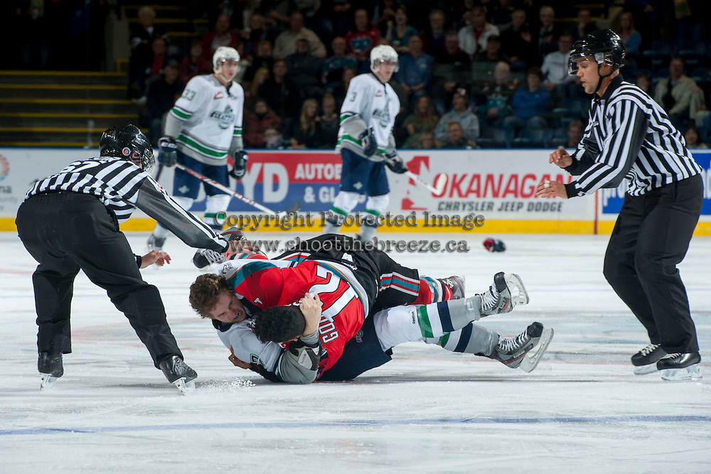 KELOWNA, CANADA - OCTOBER 11:  Tyrell Goulbourne #12 of the Kelowna Rockets gets in the face of Mitch Elliot #7 of the Seattle Thunderbirds on October 11, 2013 at Prospera Place in Kelowna, British Columbia, Canada (Photo by Marissa Baecker/Shoot the Breeze) *** Local Caption ***