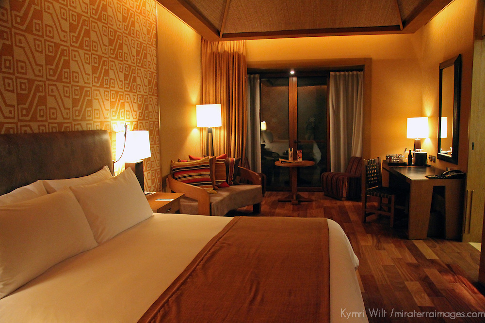 South America, Peru, Urubamba. Room at Tambo del Inka Resort & Spa in the Sacred Valley.