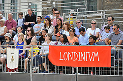 © Licensed to London News Pictures. 26/08/2017. London, UK. Crowds watch members of the Brittania re-enactment group put on Gladitorial Games in Guildhall Yard, the site of London's only Roman Amphitheatre.  The Gladiator Games will be entertaining crowds over the August Bank Holiday Weekend. Photo credit : Stephen Chung/LNP