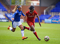 BIRKENHEAD, ENGLAND - Sunday, April 29, 2018: Liverpool's Satara Murray (right) and Everton's Taylor Hinds during the FA Women's Super League 1 match between Liverpool FC Ladies and Everton FC Ladies at Prenton Park. (Pic by David Rawcliffe/Propaganda)
