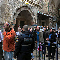 **FILE**Jewish worshippers exit the  Al Aqsa compound  sacred for Muslims and Jews, in Jerusalem's Old City.<br />