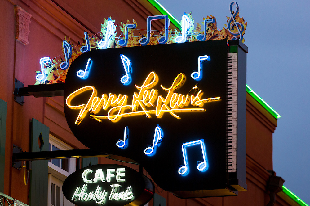 Sign for Jerry Lee Lewis cafe venue in legendary Beale Street entertainment district famous for Rock and Roll and Blues