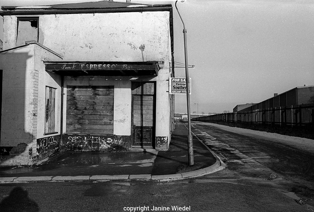 "Shildon in County Durham 1986s. Once a town known as ""the cradle of railways"".  In 1984 the railworks collaped and left it a community of unemployment and economic decline for the next decade."