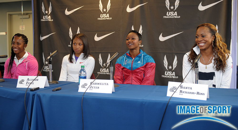 Apr 27, 2012; Philadelphia, PA, USA; Shelly Ann Fraser-Price (JAM), Allyson Felix and Carmelita Jeter and Sanya Richards-Ross at the USA vs The World press conference at the 118th Penn Relays at George A. Weiss Atrium at Franklin Field.