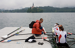 Bled's island and rowers at Rowing World Cup  on May 30, 2010, at Bled's lake in Mala Zaka, Bled, Slovenia. (Photo by Vid Ponikvar / Sportida)