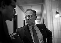 WASHINGTON, DC - AUGUST 1:  Before a hearing Senator Tim Kaine (D-VA) talks to staff while waiting for the elevator  on Capitol Hill Thursday, August 1, 2013. (Photo by Melina Mara/The Washington Post)