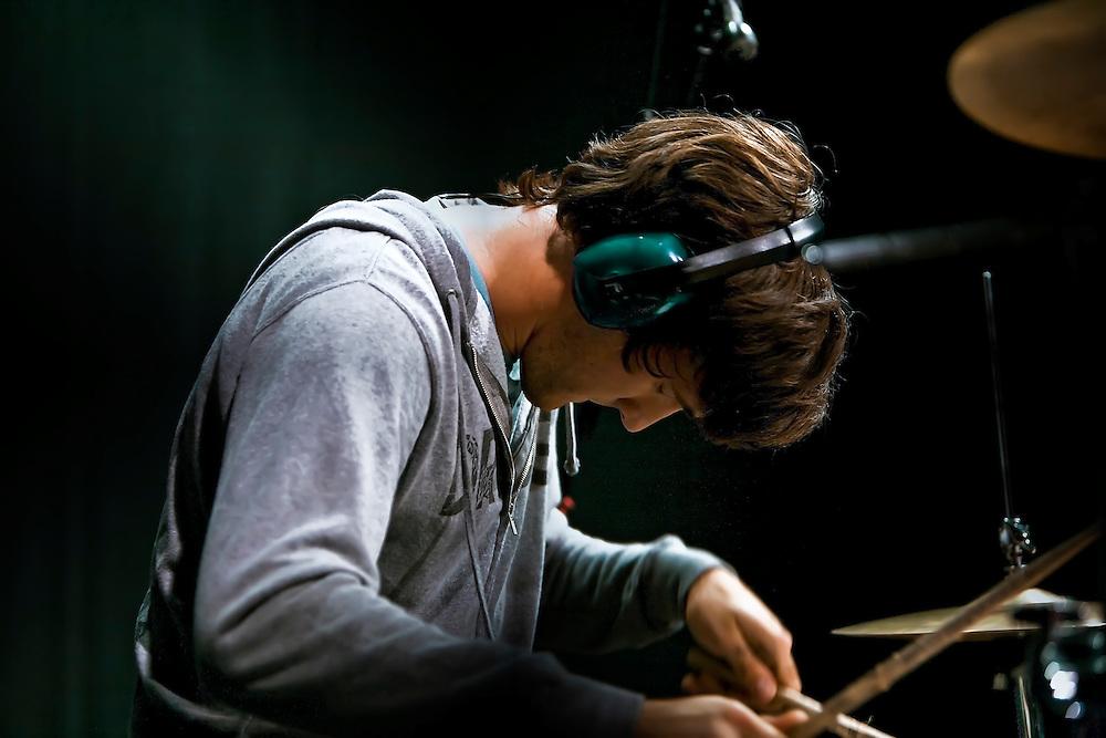 Montana 1948 drummer Charles Maynard performs at studio in Berkeley, CA.  Copyright 2009 Reid McNally.