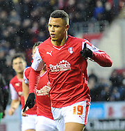Jonson Clarke-Harris of Rotherham United celebrates scoring to make it 2-0 during the Sky Bet Championship match at the New York Stadium, Rotherham<br /> Picture by Richard Land/Focus Images Ltd +44 7713 507003<br /> 28/11/2015
