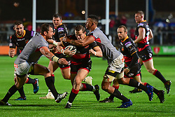 Dragons' Hallam Amos is tackled by Southern Kings' Bobby de Wee - Mandatory by-line: Craig Thomas/JMP - 30/09/2017 - RUGBY - Rodney Parade - Newport, Gwent, Wales - Newport Gwent Dragons v Southern Kings - Guinness Pro 14