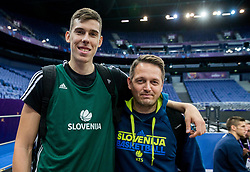 Vlatko Cancar of Slovenia and Aleksander Sekulic, assistant coach of Slovenia at training session during of the FIBA EuroBasket 2017 at Hartwall Arena in Helsinki, Finland on September 4, 2017. Photo by Vid Ponikvar / Sportida
