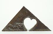 triangular slate with heart shape cut out