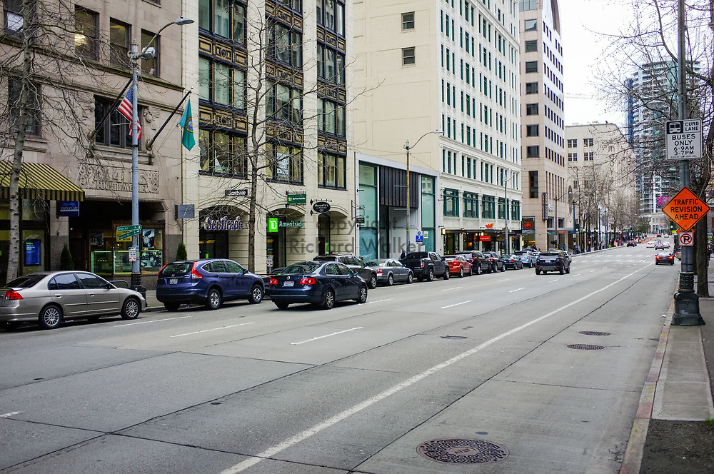 2017 MARCH 05 - 4th Ave looking north from near Union St, downtown, Seattle, WA, USA. By Richard Walker