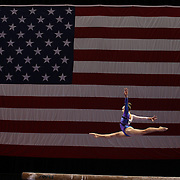 Peyton Ernst, Coppell, Texas, in action on the Balance Beam during the Senior Women Competition at The 2013 P&G Gymnastics Championships, USA Gymnastics' National Championships at the XL, Centre, Hartford, Connecticut, USA. 15th August 2013. Photo Tim Clayton
