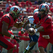 September 06, 2014:   Rutgers Scarlet Knights quarterback Gary Nova (10) hands the ball off to Rutgers Scarlet Knights running back Paul James (34) during the game between The Howard Bison and Rutgers Scarlet Knights at Highpoint Solutions Stadium in Piscataway, NJ.  Rutgers Scarlet Knights defeated Howard Bison 38-25. Mandatory Credit: Kostas Lymperopoulos/CSM, (Credit Image: © Kostas Lymperopoulos/Cal Sport Media)