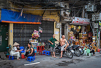 HANOI, VIETNAM - CIRCA SEPTEMBER 2014:  Typical street of the Old Quarter in  Hanoi, Vietnam.