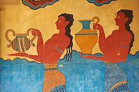 Grèce, Crète, site archéologique minoen de Knossos, fresque dans le Corridor des Processions // Greece, Crete island, Iraklion, archeological site of Knossos, Mural paintings, Corridor of the Procession