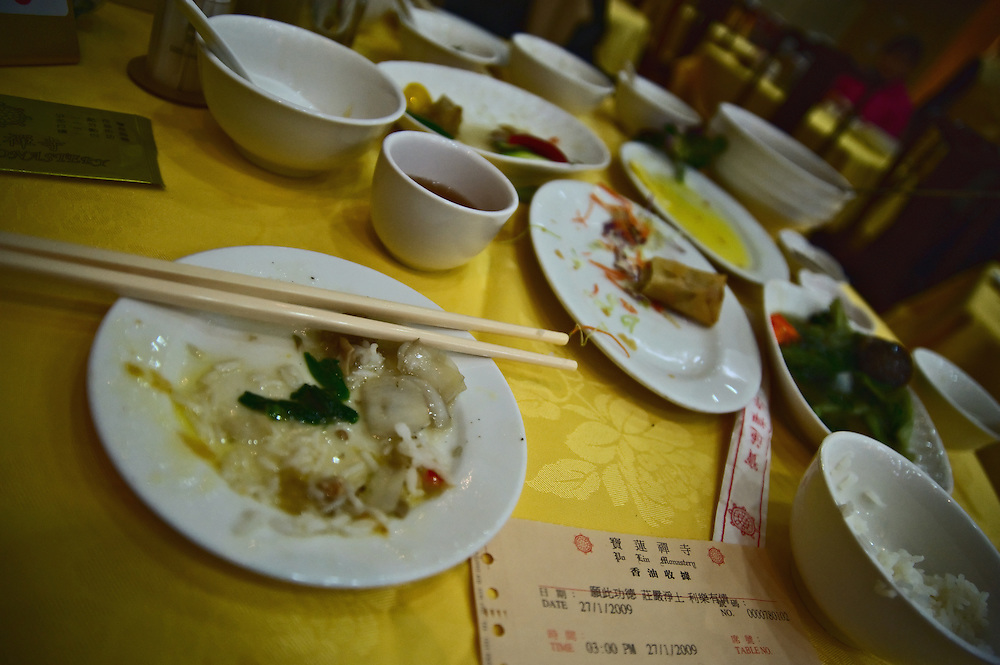Vegetarian meal served at Po Lin monastery, Lantau, Hong Kong