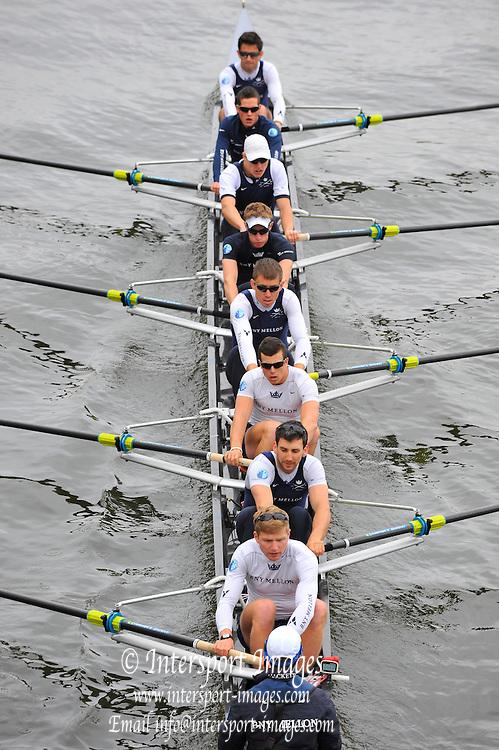 London, United Kingdom.  Friday Morning, Oxford passing under Hammersmith Bridge.  2014, Varsity, Tideway Week, annual training week, both crews based at Putney, Championship Course,  River Thames;   04:58:39 - Friday  - 04/04/2014  [Mandatory Credit; ntersport Images].<br /> <br /> CUBC. Bow. Mike THORP, 2. Luke JUCKETT, 3. Ivo DAWKINS, 4. Steve DUDEK, 5. Helge GRUETJEN, 6. Matthew JACKSON, 7. Joshua HOOPER, Stroke, Henry HOFFSTOT and cox Ian MIDDLETON