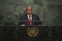 UNITED NATIONS, Sept. 21, 2016 (Xinhua) -- South African President Jacob Zuma addresses the United Nations General Assembly at the UN headquarters in New York, the United States, Sept. 20, 2016. The 71st session of the UN General Assembly on Tuesday kicked off its annual high-level General Debate at the UN headquarters in New York, with a focus on pushing for the world's sustainable development. (Xinhua/UN Photo/Manuel Elias) (Credit Image: © Un /Manuel Elias/Xinhua via ZUMA Wire)