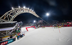 24.01.2017, Planai, Schladming, AUT, FIS Weltcup Ski Alpin, Schladming, Slalom, Herren, im Bild Zielstadion der Planai mit VÖST Alpine Bogen Skygate // Planai Stadium with Skygate during the men's Slalom of FIS ski alpine world cup at the Planai in Schladming, Austria on 2017/01/24. EXPA Pictures © 2017, PhotoCredit: EXPA/ Johann Groder