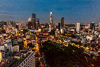 Central Business District with Bitexco Financial Tower, At 68 stories, it is the tallest building in HCMC and the third tallest in Vietnam). Central Financial District, Ho Chi Minh City, Vietnam.