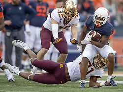 November 3, 2018 - Champaign, IL, USA - United States - Illinois running back Reggie Corbin rushed with the ball despite defensive pressure by Minnesota's linebacker Kamal Martin during the second quarter as the Gophers took on Illinois at Memorial Stadium, Saturday, November 3, 3018 in Champaign, IL.   ]  ELIZABETH FLORES • liz.flores@startribune.com (Credit Image: © Elizabeth Flores/Minneapolis Star Tribune via ZUMA Wire)