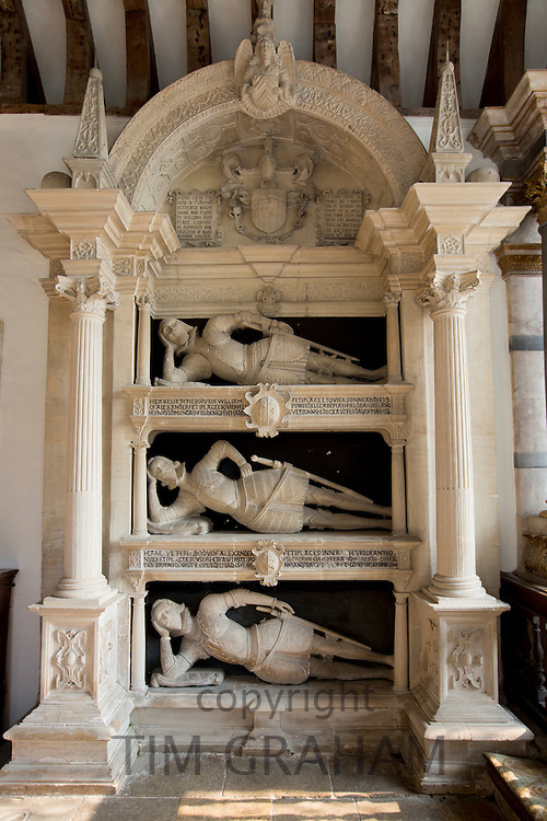 Fettiplace tombs 1613 in the chancel of St Mary's Church in Swinbrook - top Sir Edmund Fettiplace mid William base Alexander