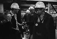Handing in the chit before going into the cage and down into the mine shaft Florence Colliery  Staffordshire. 1970's