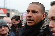 Ex-Forest player Stan Collymore during Nottingham Forest fans stage a peaceful demonstration to show their frustration against Forest chairman Fawaz Al-Hasawi ahead of the EFL Sky Bet Championship match between Nottingham Forest and Bristol City at the City Ground, Nottingham, England on 21 January 2017. Photo by Jon Hobley.