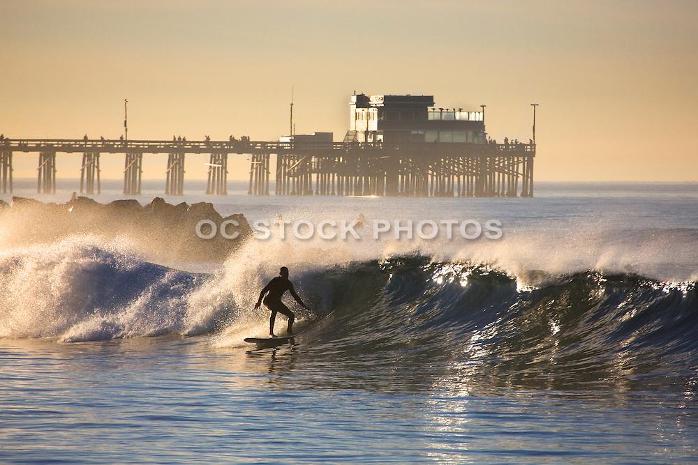 Surfing Newport Beach At The Pier Orange County, California