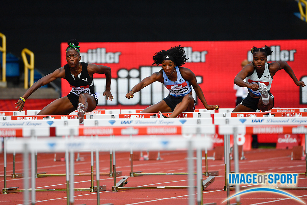 Kendra Harrison aka Kendra Harrison (USA) right leads Janeek Brown (JAM) in the heats of the women's 100m hurdles during the Birmingham Grand Prix, Sunday, Aug 18, 2019, in Birmingham, United Kingdom. (Steve Flynn/Image of Sport)