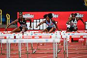 Kendra Harrison aka Kendra Harrison (USA) right leads Janeek Brown (JAM) in the heats of the women's 100m hurdles during the Birmingham Grand Prix, Sunday, Aug 18, 2019, in Birmingham, United Kingdom. (Steve Flynn/Image of Sport)