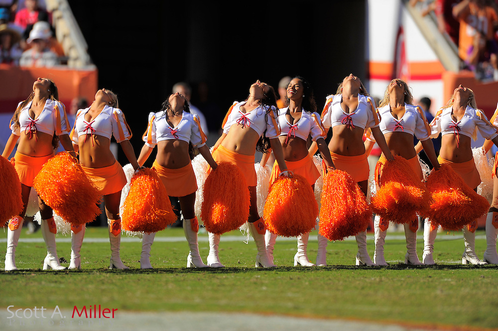 Tampa Bay Buccaneers cheerleaders during the Bucs game against the New Orleans Saints at Raymond James Stadium  on Oct. 14, 2012 in Tampa, Florida. The Saints won 35-28....©2012 Scott A. Miller...