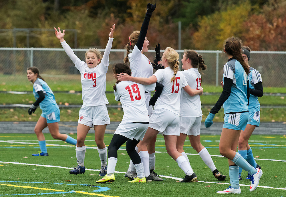 CVU celebrates a late goal during the girls high school playoff game between the Champlain Valley Union Redhawks and the South Burlington Rebels at South Burlington High School on Saturday afternoon October 29, 2016 in South Burlington. (BRIAN JENKINS/for the FREE PRESS)