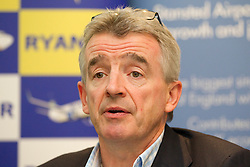 © Licensed to London News Pictures. 16/09/2013. London, UK. Ryanair chief executive Michael O'Leary is seen at a press conference in London today )16/09/2013) where he revealed that his airline has concluded a 10 year growth agreement with London Stanstead Airport. The deal will see the budget airline grow it's traffic at the airport by 50%, from 13.2 million passengers to over 14.5 million. Photo credit: Matt Cetti-Roberts/LNP