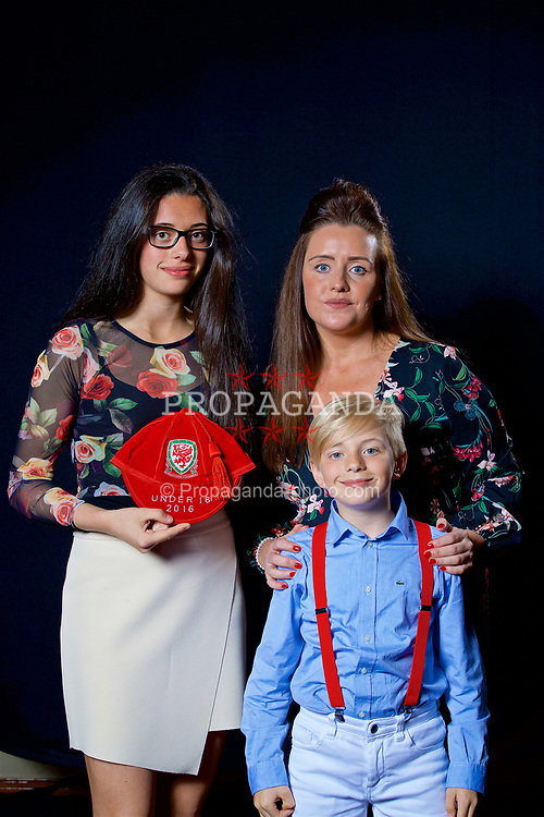 NEWPORT, WALES - Saturday, May 27, 2017: Thierry-Jo Gauvain and family with her Under-16 Wales cap at the Celtic Manor Resort. (Pic by David Rawcliffe/Propaganda)