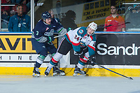 KELOWNA, CANADA - APRIL 30: Anthony Bishop #3 of the Seattle Thunderbirds stick checks Kyle Topping #24 of the Kelowna Rockets on April 30, 2017 at Prospera Place in Kelowna, British Columbia, Canada.  (Photo by Marissa Baecker/Shoot the Breeze)  *** Local Caption ***