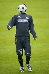 CARDIFF, WALES - Monday, October 13, 2008: Wales' Chris Gunter during training at the Vale of Glamorgan Hotel ahead of the 2010 FIFA World Cup South Africa Qualifying Group 4 match against Germany. (Photo by David Rawcliffe/Propaganda)