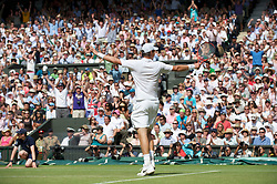 LONDON, ENGLAND - Wednesday, June 30, 2010: Tomas Berdych (CZE) celebrates after winning the Gentlemen's Singles Quarter-Final on day nine of the Wimbledon Lawn Tennis Championships at the All England Lawn Tennis and Croquet Club. (Pic by David Rawcliffe/Propaganda)